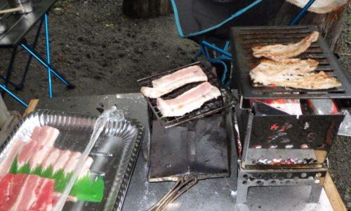ネイチャーストーブで肉焼き